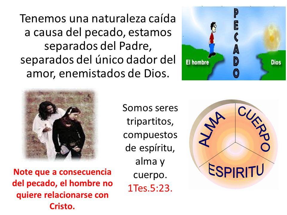 Tenemos una naturaleza caída a causa del pecado, estamos separados del Padre, separados del único dador del amor, enemistados de Dios.