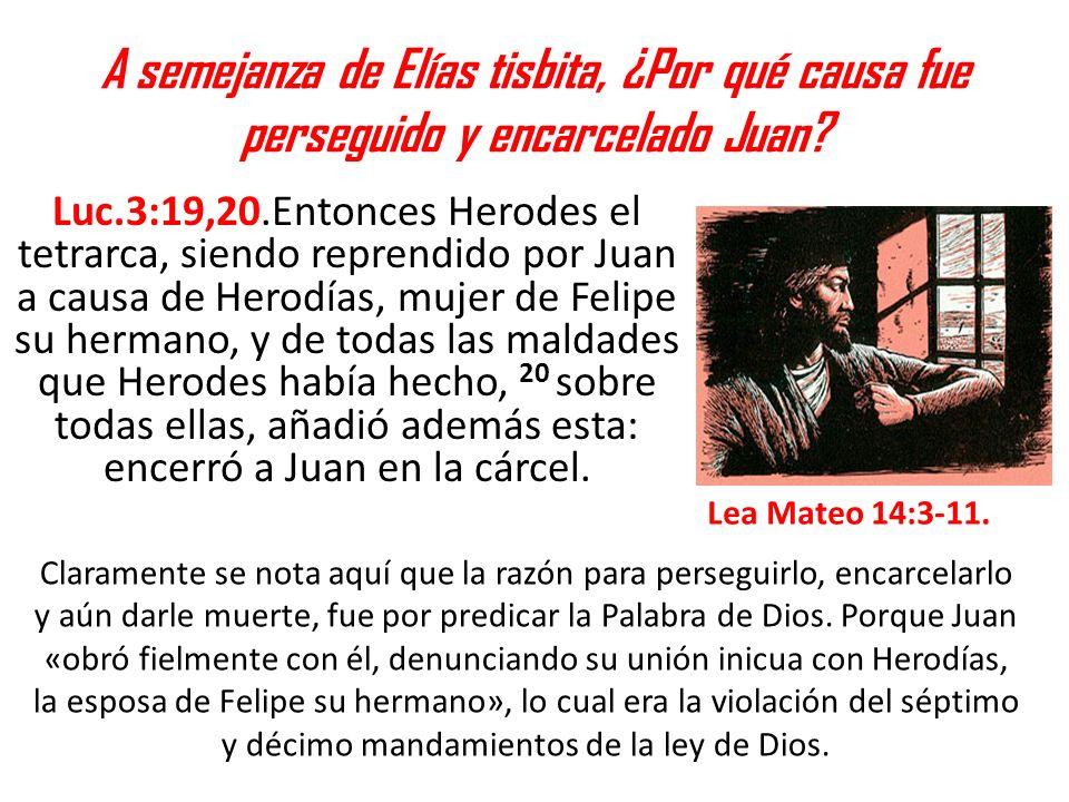 A semejanza de Elías tisbita, ¿Por qué causa fue perseguido y encarcelado Juan