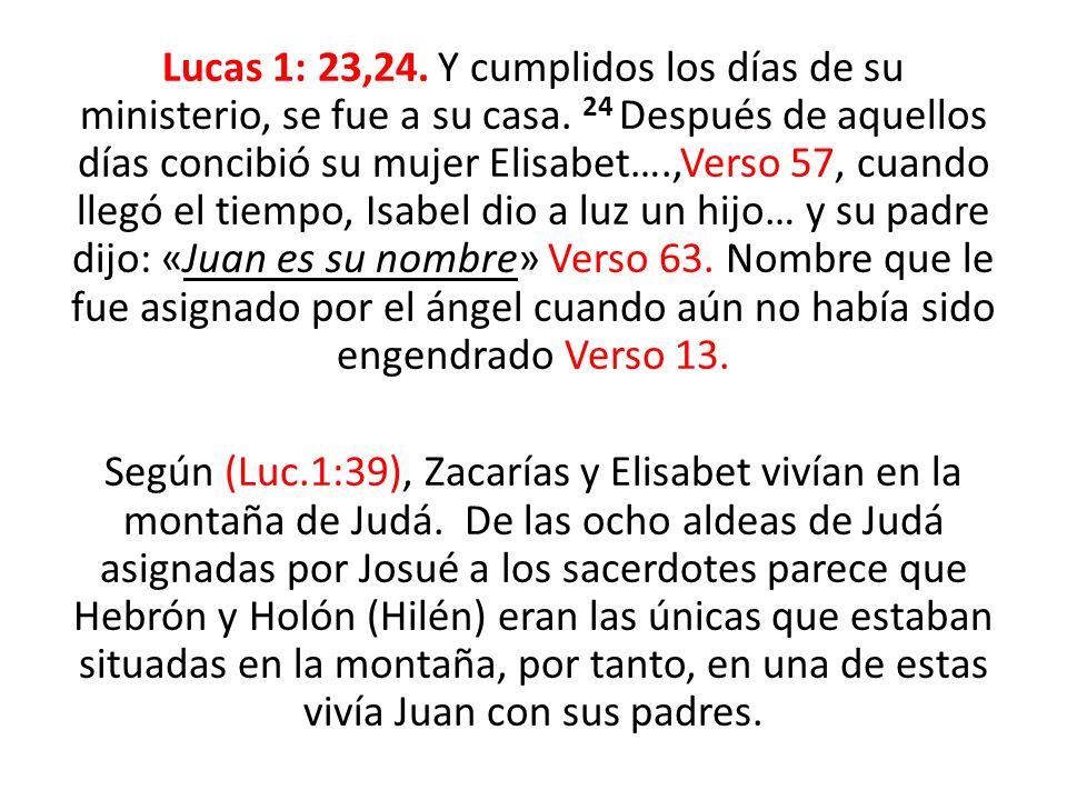 Lucas 1: 23,24. Y cumplidos los días de su ministerio, se fue a su casa.