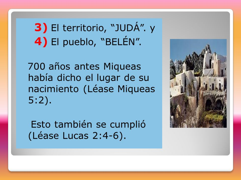 3) El territorio, JUDÁ . y 4) El pueblo, BELÉN