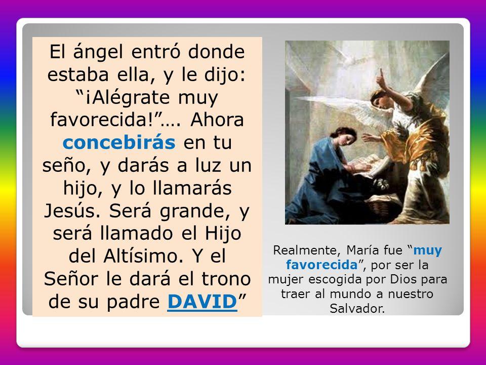 El ángel entró donde estaba ella, y le dijo: ¡Alégrate muy favorecida
