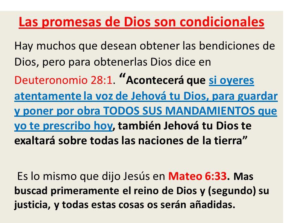 Las promesas de Dios son condicionales