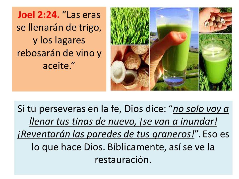 Joel 2:24. Las eras se llenarán de trigo, y los lagares rebosarán de vino y aceite.