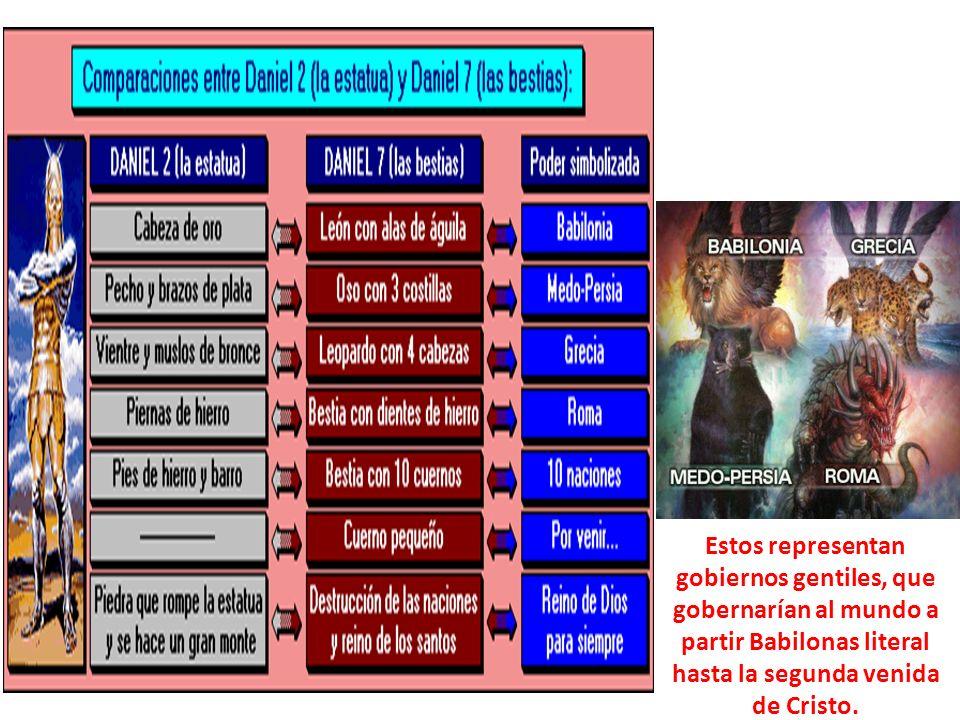 Estos representan gobiernos gentiles, que gobernarían al mundo a partir Babilonas literal hasta la segunda venida de Cristo.