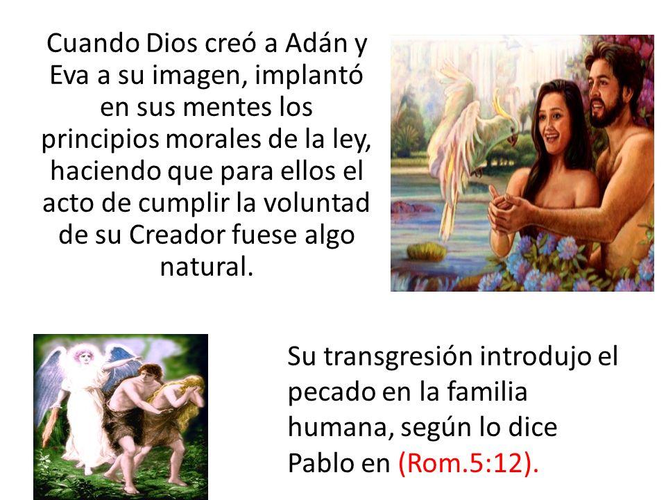 Cuando Dios creó a Adán y Eva a su imagen, implantó en sus mentes los principios morales de la ley, haciendo que para ellos el acto de cumplir la voluntad de su Creador fuese algo natural.
