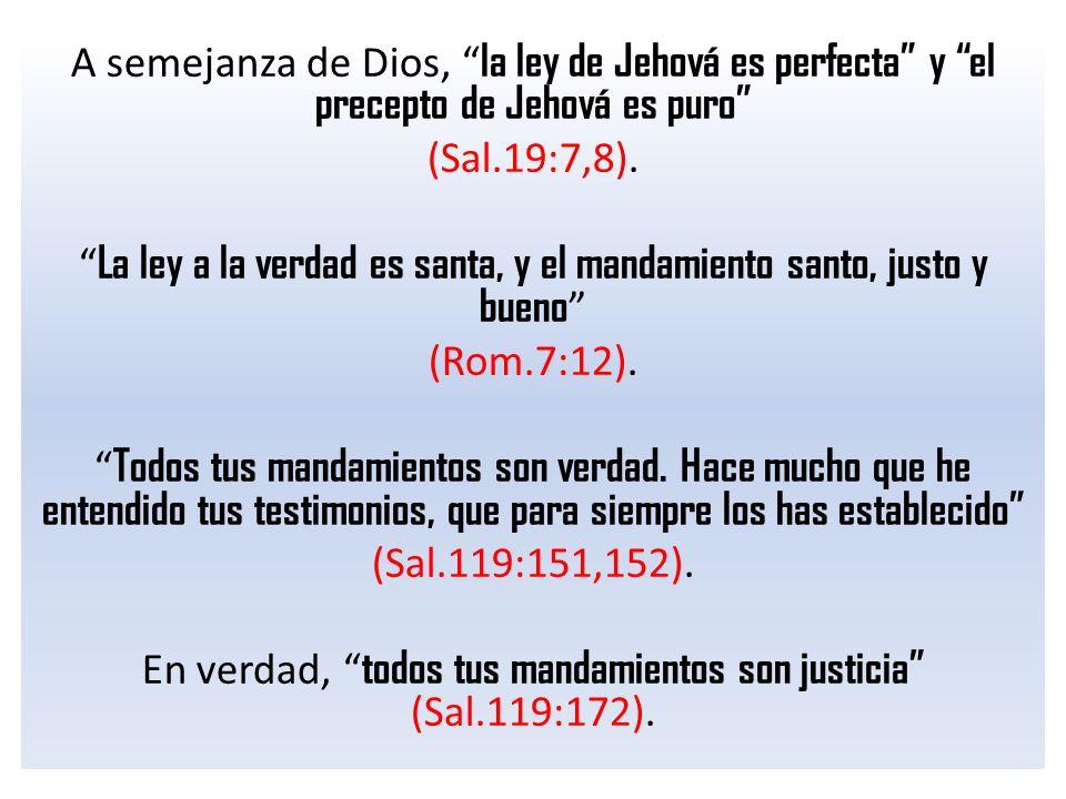 A semejanza de Dios, la ley de Jehová es perfecta y el precepto de Jehová es puro (Sal.19:7,8).
