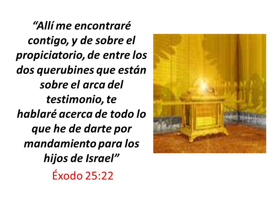 Allí me encontraré contigo, y de sobre el propiciatorio, de entre los dos querubines que están sobre el arca del testimonio, te hablaré acerca de todo lo que he de darte por mandamiento para los hijos de Israel
