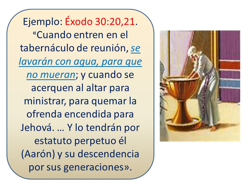 Ejemplo: Éxodo 30:20,21.