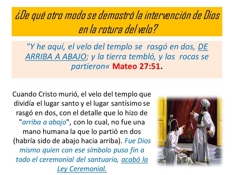 ¿De qué otro modo se demostró la intervención de Dios en la rotura del velo