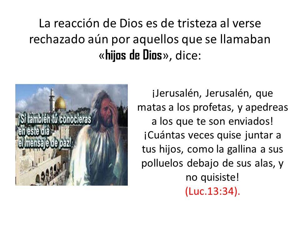 La reacción de Dios es de tristeza al verse rechazado aún por aquellos que se llamaban «hijos de Dios», dice: