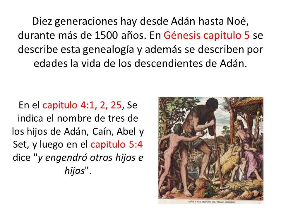 Diez generaciones hay desde Adán hasta Noé, durante más de 1500 años