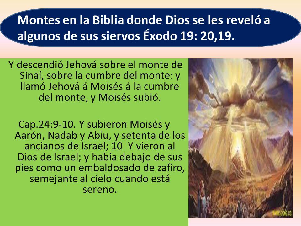 Montes en la Biblia donde Dios se les reveló a algunos de sus siervos Éxodo 19: 20,19.