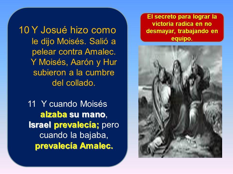Y Josué hizo como le dijo Moisés. Salió a pelear contra Amalec