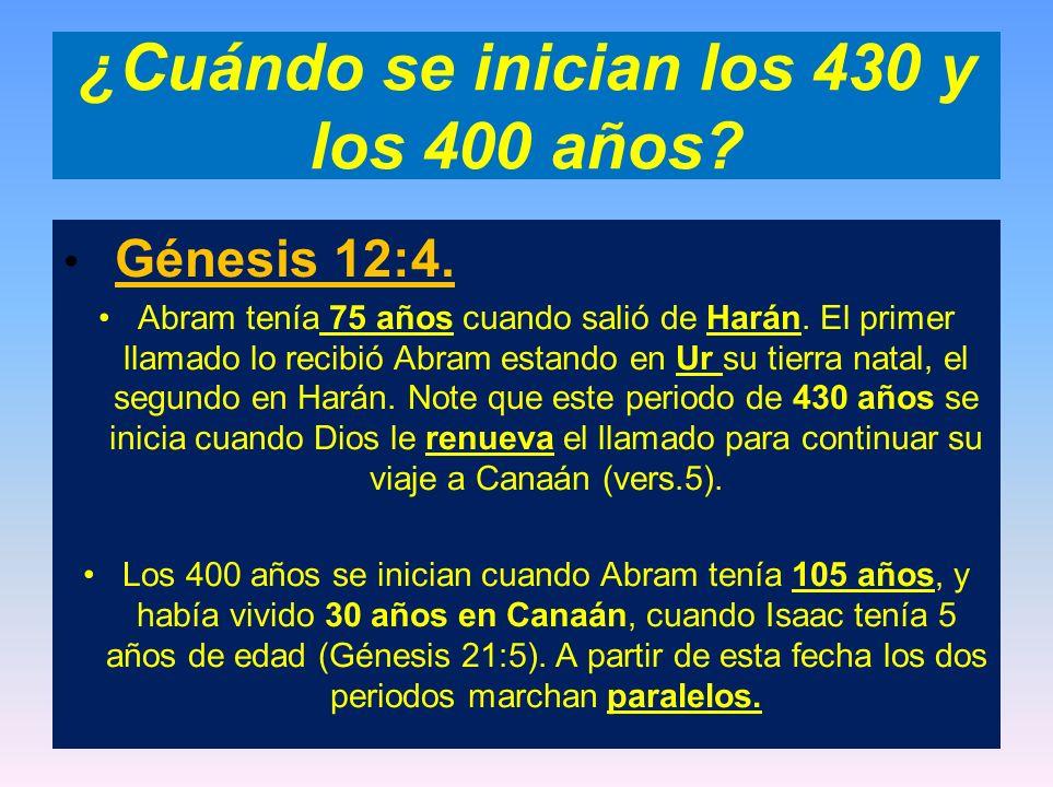 ¿Cuándo se inician los 430 y los 400 años