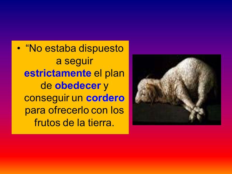 No estaba dispuesto a seguir estrictamente el plan de obedecer y conseguir un cordero para ofrecerlo con los frutos de la tierra.