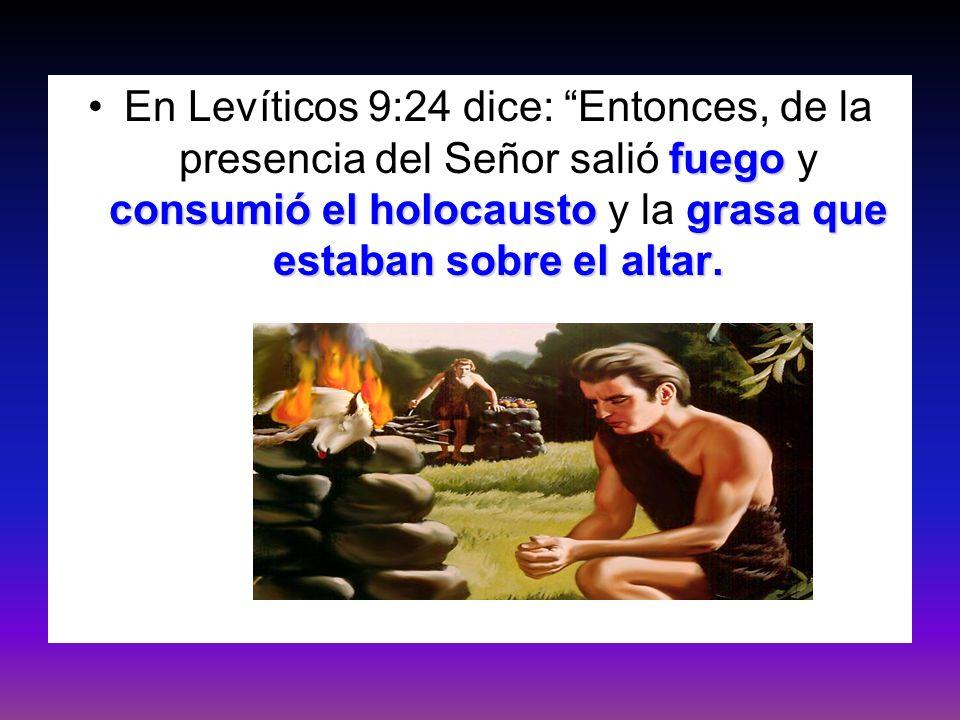 En Levíticos 9:24 dice: Entonces, de la presencia del Señor salió fuego y consumió el holocausto y la grasa que estaban sobre el altar.