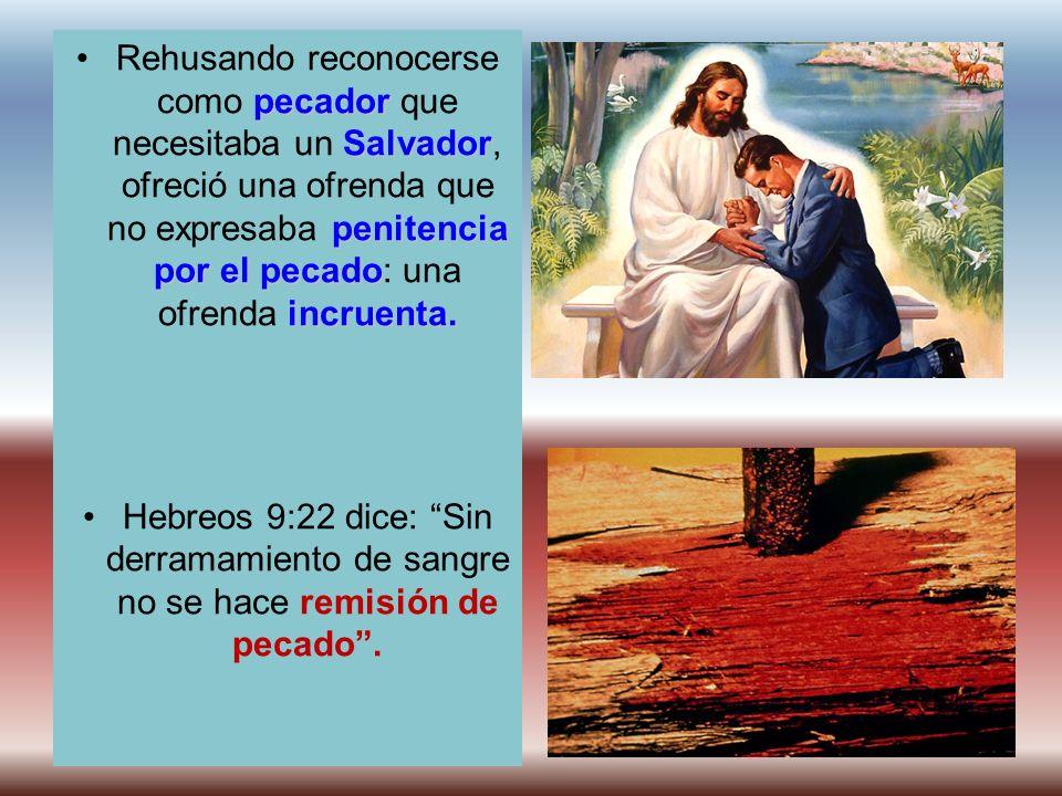 Rehusando reconocerse como pecador que necesitaba un Salvador, ofreció una ofrenda que no expresaba penitencia por el pecado: una ofrenda incruenta.