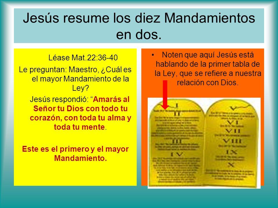 Jesús resume los diez Mandamientos en dos.