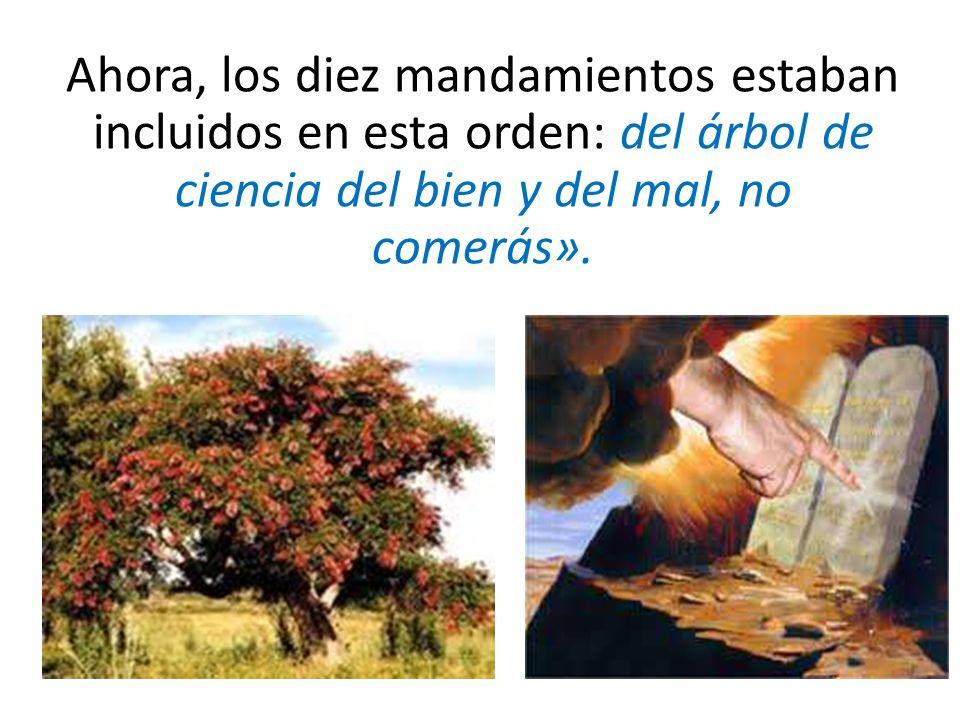 Ahora, los diez mandamientos estaban incluidos en esta orden: del árbol de ciencia del bien y del mal, no comerás».
