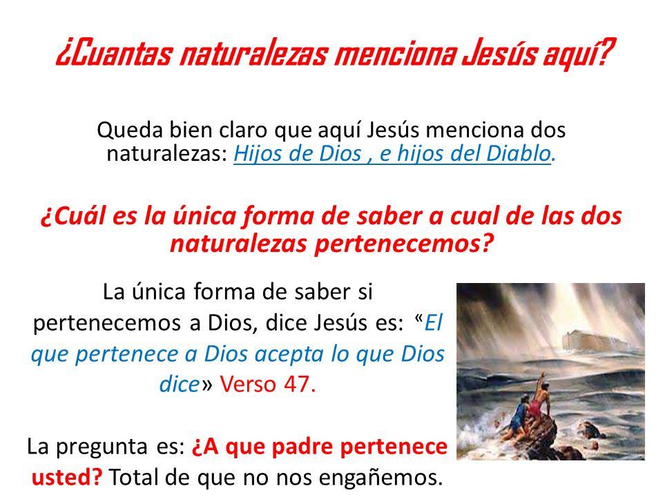 ¿Cuantas naturalezas menciona Jesús aquí