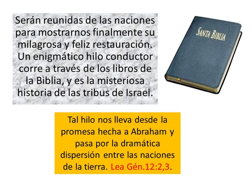 Serán reunidas de las naciones para mostrarnos finalmente su milagrosa y feliz restauración. Un enigmático hilo conductor corre a través de los libros de la Biblia, y es la misteriosa historia de las tribus de Israel.