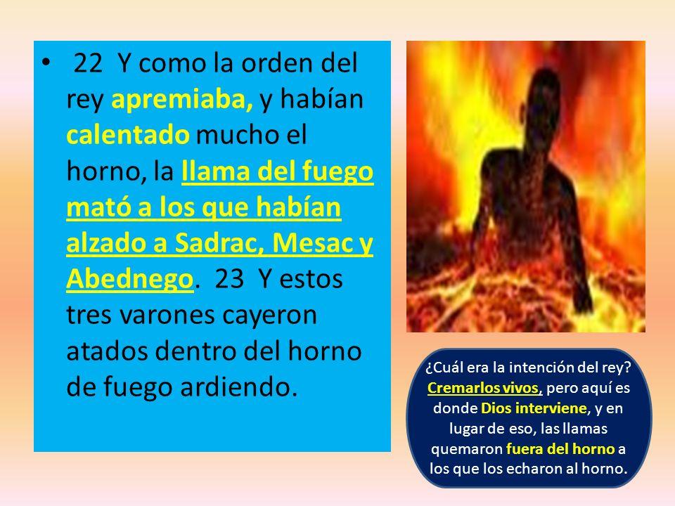 22 Y como la orden del rey apremiaba, y habían calentado mucho el horno, la llama del fuego mató a los que habían alzado a Sadrac, Mesac y Abednego. 23 Y estos tres varones cayeron atados dentro del horno de fuego ardiendo.