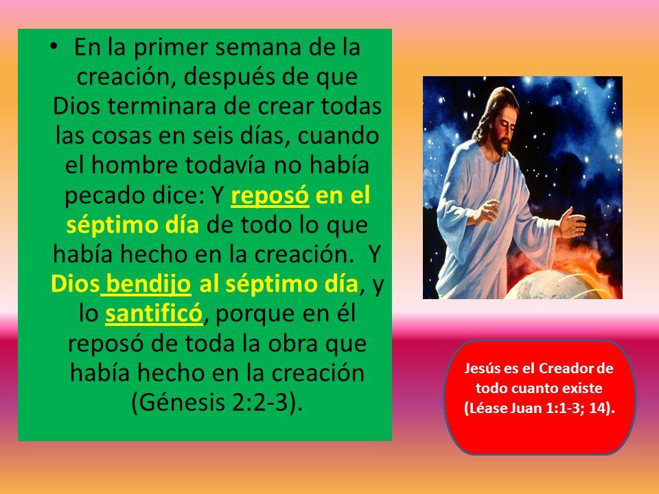 Jesús es el Creador de todo cuanto existe (Léase Juan 1:1-3; 14).