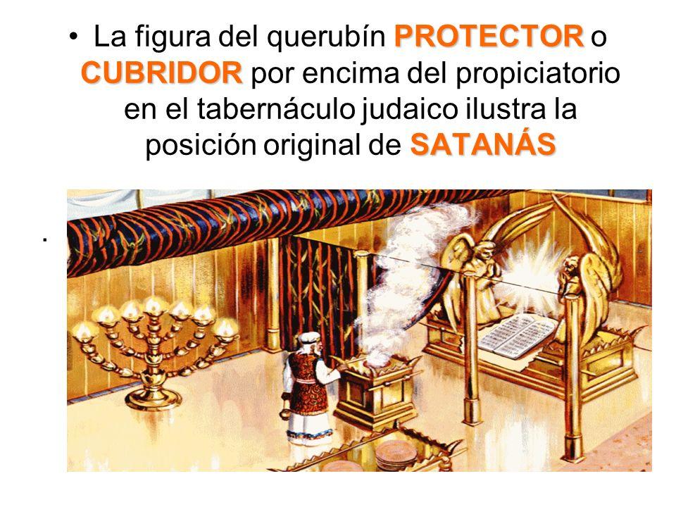 La figura del querubín PROTECTOR o CUBRIDOR por encima del propiciatorio en el tabernáculo judaico ilustra la posición original de SATANÁS