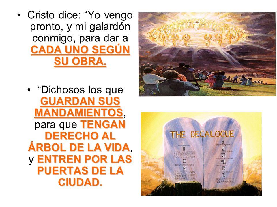 Cristo dice: Yo vengo pronto, y mi galardón conmigo, para dar a CADA UNO SEGÚN SU OBRA.