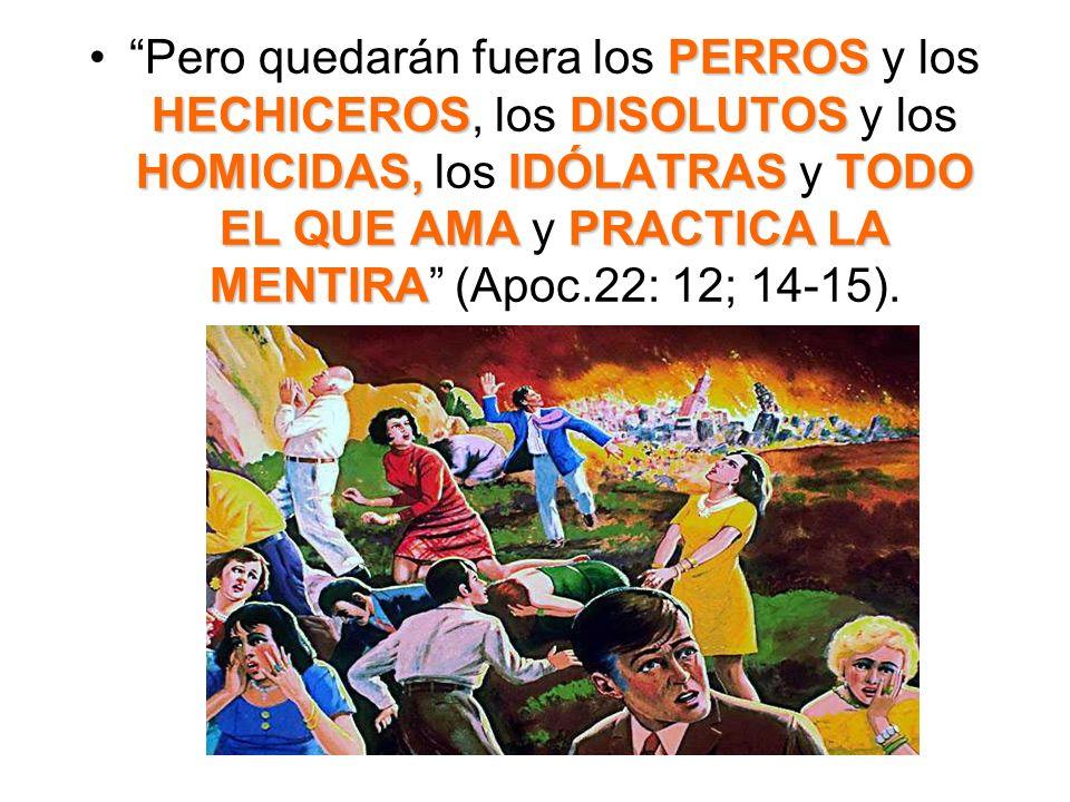 Pero quedarán fuera los PERROS y los HECHICEROS, los DISOLUTOS y los HOMICIDAS, los IDÓLATRAS y TODO EL QUE AMA y PRACTICA LA MENTIRA (Apoc.22: 12; 14-15).