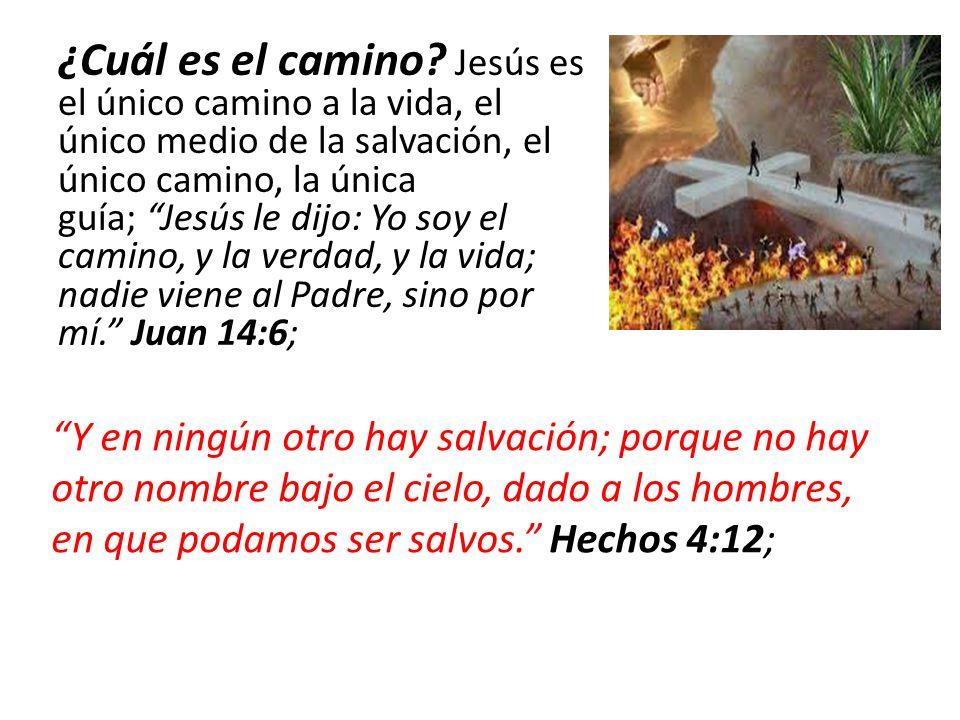 ¿Cuál es el camino Jesús es el único camino a la vida, el único medio de la salvación, el único camino, la única guía; Jesús le dijo: Yo soy el camino, y la verdad, y la vida; nadie viene al Padre, sino por mí. Juan 14:6;