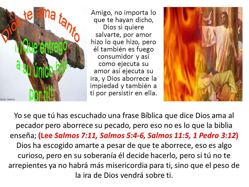 Amigo, no importa lo que te hayan dicho, Dios si quiere salvarte, por amor hizo lo que hizo, pero él también es fuego consumidor y así como ejecuta su amor así ejecuta su ira, y Dios aborrece la impiedad y también a ti por persistir en ella.