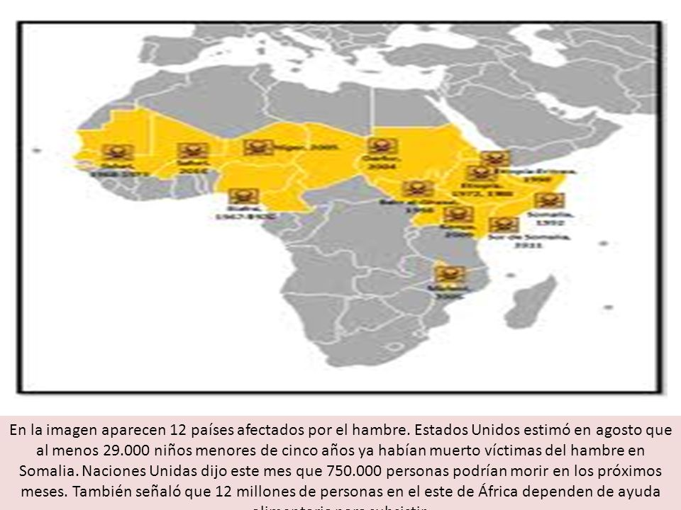 En la imagen aparecen 12 países afectados por el hambre