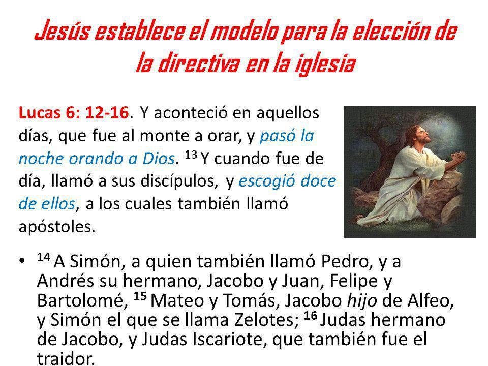 Jesús establece el modelo para la elección de la directiva en la iglesia