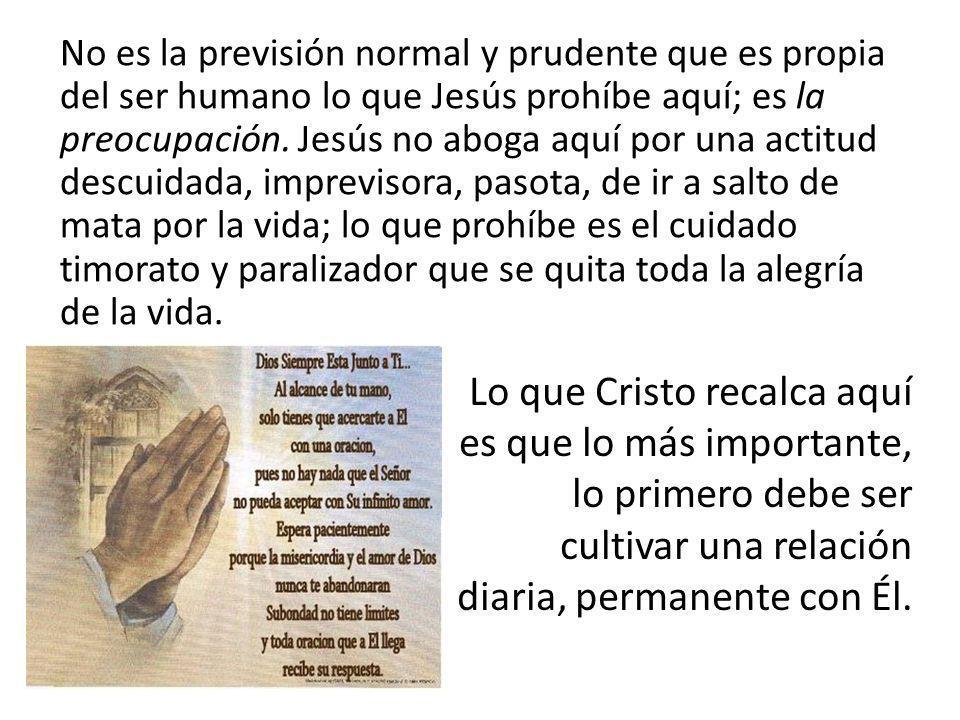 No es la previsión normal y prudente que es propia del ser humano lo que Jesús prohíbe aquí; es la preocupación. Jesús no aboga aquí por una actitud descuidada, imprevisora, pasota, de ir a salto de mata por la vida; lo que prohíbe es el cuidado timorato y paralizador que se quita toda la alegría de la vida.