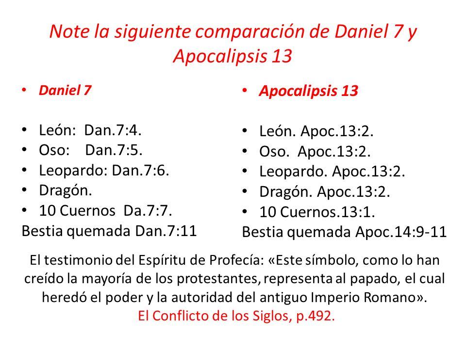 Note la siguiente comparación de Daniel 7 y Apocalipsis 13