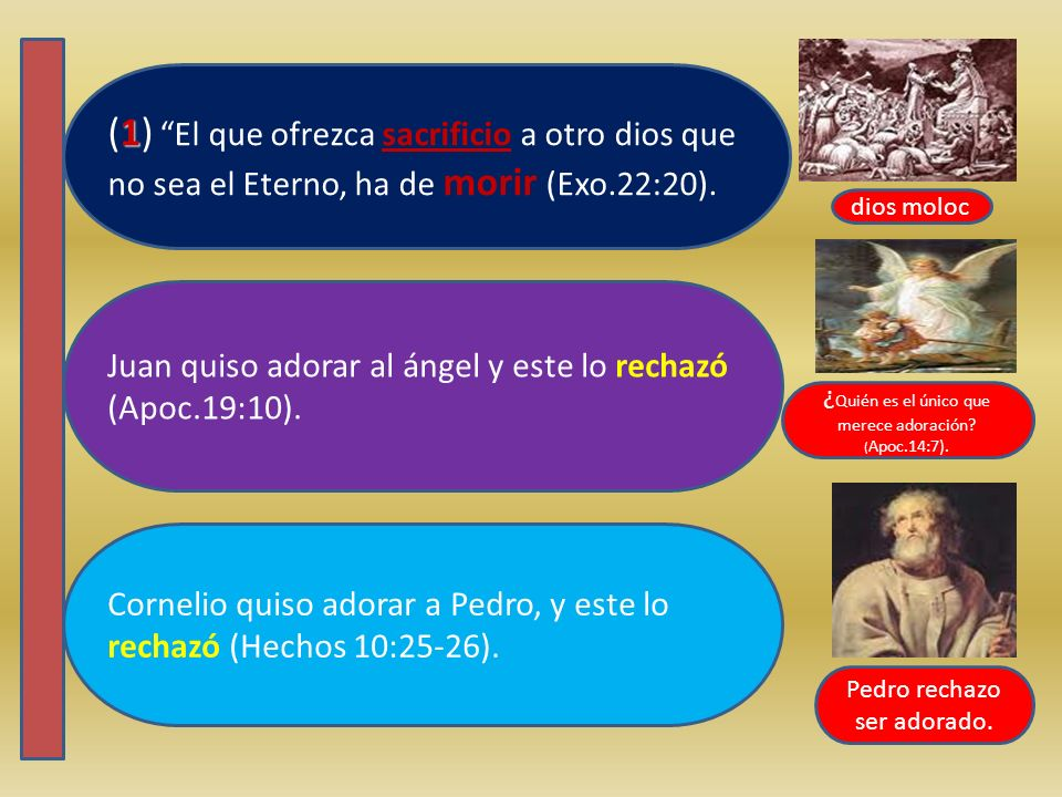(1) El que ofrezca sacrificio a otro dios que no sea el Eterno, ha de morir (Exo.22:20).