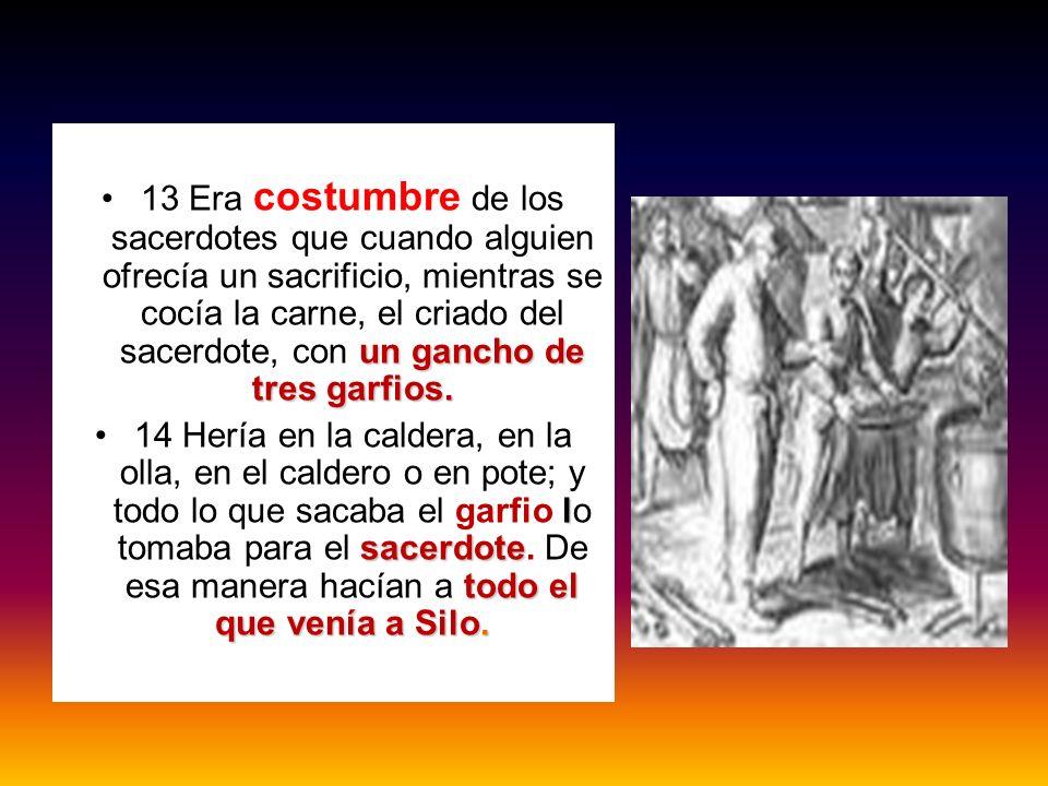 13 Era costumbre de los sacerdotes que cuando alguien ofrecía un sacrificio, mientras se cocía la carne, el criado del sacerdote, con un gancho de tres garfios.