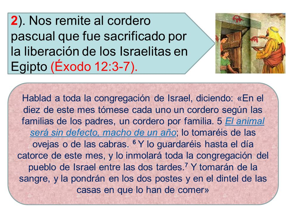 2). Nos remite al cordero pascual que fue sacrificado por la liberación de los Israelitas en Egipto (Éxodo 12:3-7).