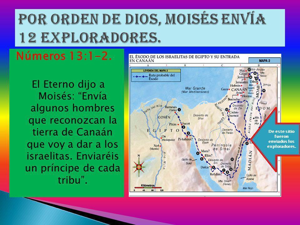 Por orden de Dios, Moisés envía 12 exploradores.