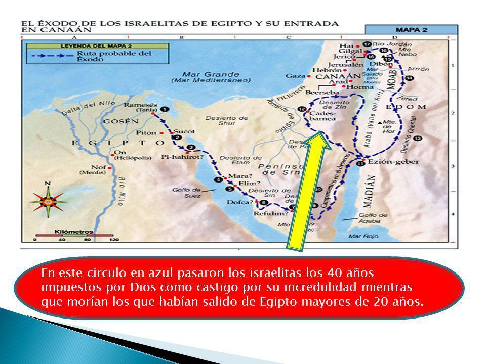 En este circulo en azul pasaron los israelitas los 40 años impuestos por Dios como castigo por su incredulidad mientras que morían los que habían salido de Egipto mayores de 20 años.