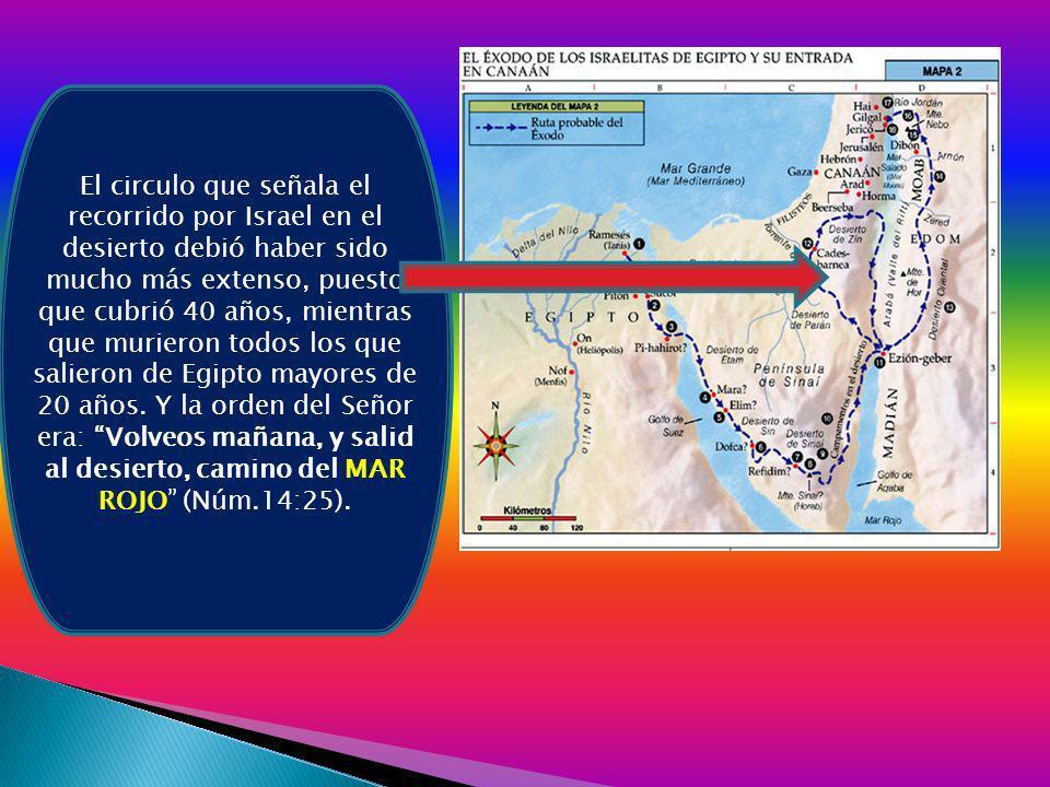 El circulo que señala el recorrido por Israel en el desierto debió haber sido mucho más extenso, puesto que cubrió 40 años, mientras que murieron todos los que salieron de Egipto mayores de 20 años.