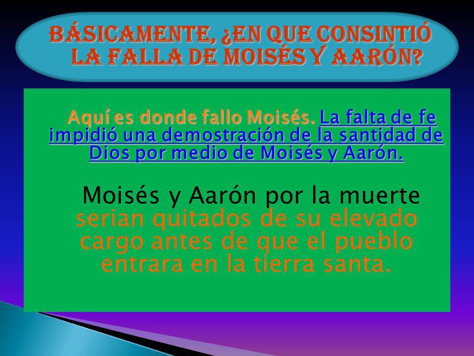 Básicamente, ¿En que consintió la falla de Moisés y Aarón