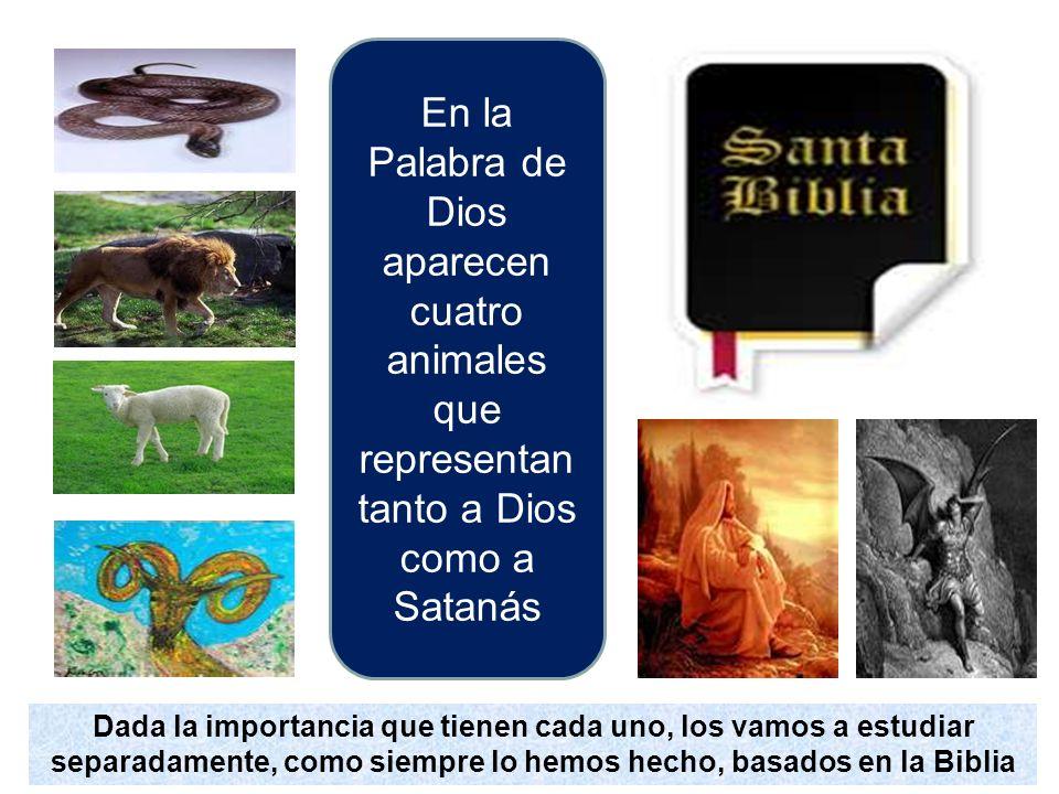 En la Palabra de Dios aparecen cuatro animales que representan tanto a Dios como a Satanás