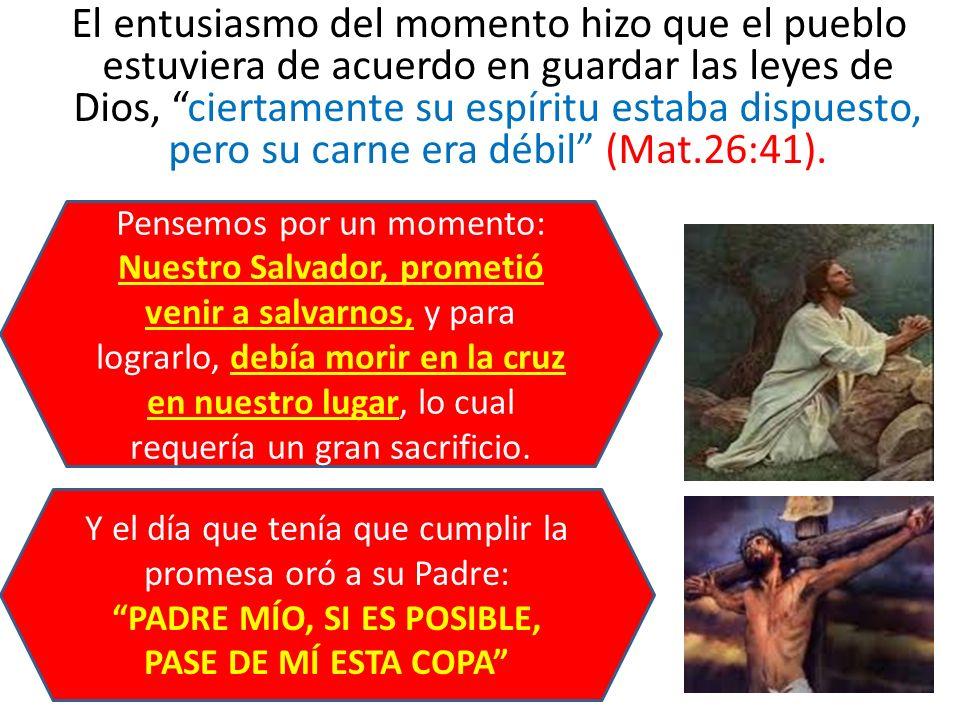 El entusiasmo del momento hizo que el pueblo estuviera de acuerdo en guardar las leyes de Dios, ciertamente su espíritu estaba dispuesto, pero su carne era débil (Mat.26:41).