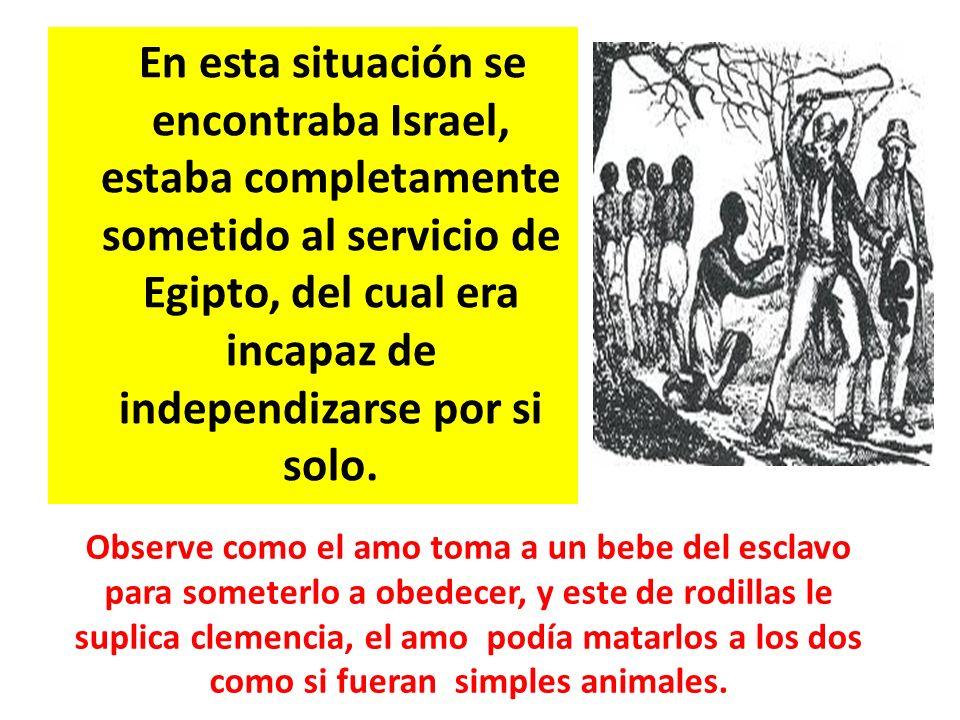 En esta situación se encontraba Israel, estaba completamente sometido al servicio de Egipto, del cual era incapaz de independizarse por si solo.