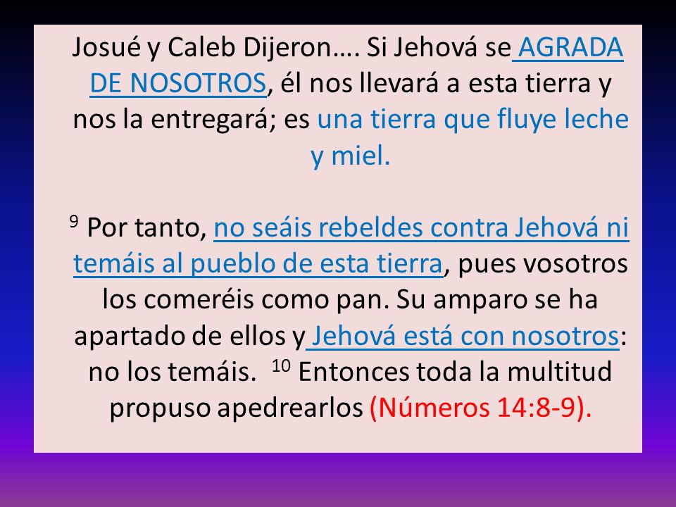 Josué y Caleb Dijeron….