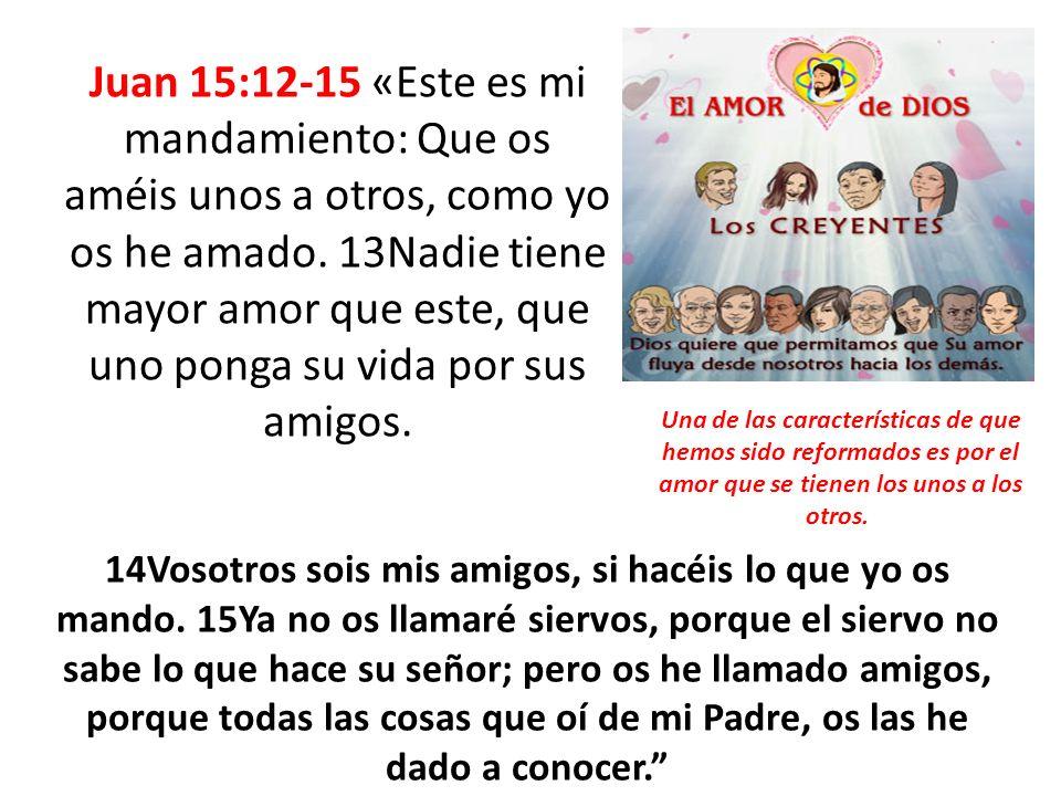 Juan 15:12-15 «Este es mi mandamiento: Que os améis unos a otros, como yo os he amado. 13Nadie tiene mayor amor que este, que uno ponga su vida por sus amigos.