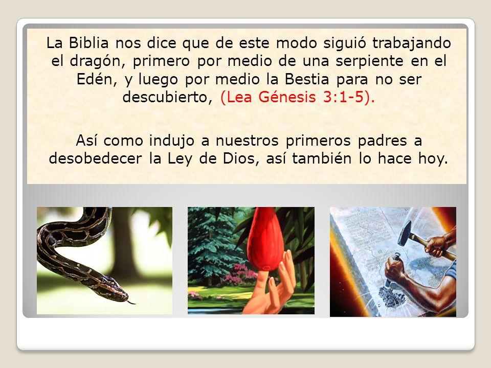 La Biblia nos dice que de este modo siguió trabajando el dragón, primero por medio de una serpiente en el Edén, y luego por medio la Bestia para no ser descubierto, (Lea Génesis 3:1-5).