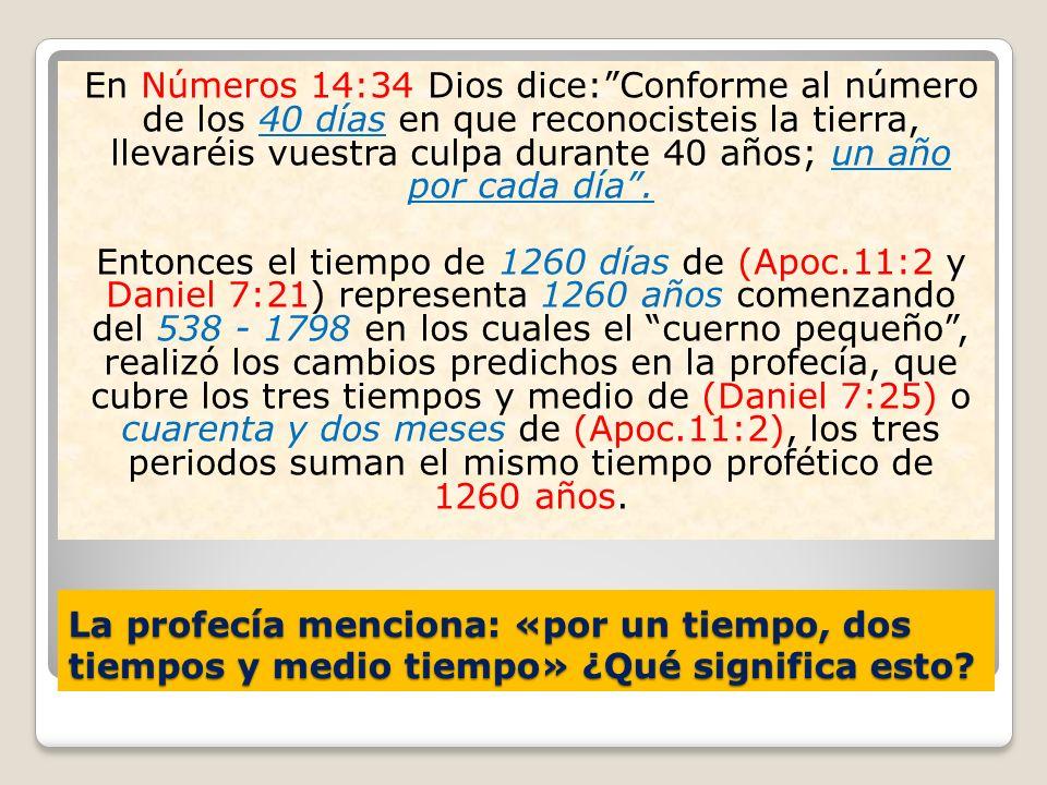 En Números 14:34 Dios dice: Conforme al número de los 40 días en que reconocisteis la tierra, llevaréis vuestra culpa durante 40 años; un año por cada día .